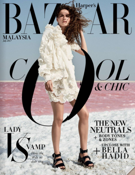 Valentine on the cover of Harper's Bazaar Malaysia