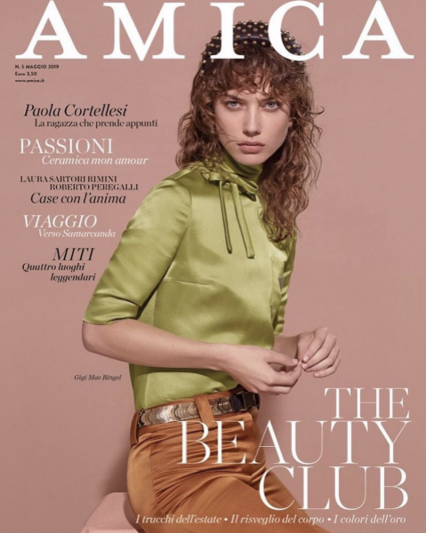Gigi on the cover of Amica Magazine