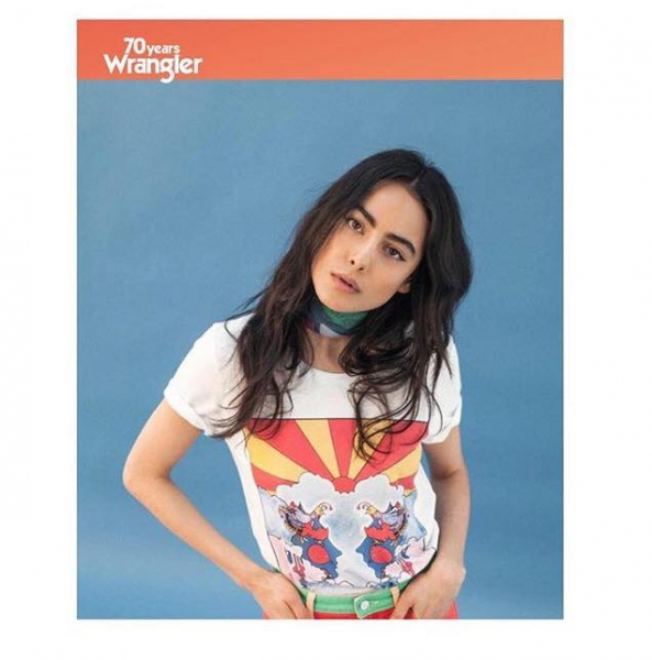 Emily Jeanne getting groovy for Wrangler Europe